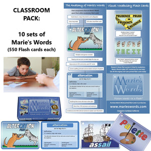 BUNDLE Classroom Pack of 10 sets - MARIE'S WORDS Printed Flash Cards