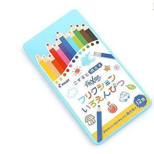 PILOT Frixion Iroenpitsu Erasable Wooden Color Pencil 12-Colors Pack (Blue Case)