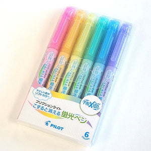PILOT Frixion Light Erasable Highlighter Pack (Soft-Green/Soft-Blue/Soft-Orange/Soft-Pink/Soft-Violet/Soft-Yellow)