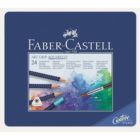 FABER-CASTELL Art Grip Aquarelle Watercolour Pencil Tin 24