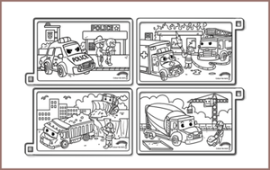 COLOUR ME MATS Emergency & Construction Vehicles (Colouring Mat Bundle)