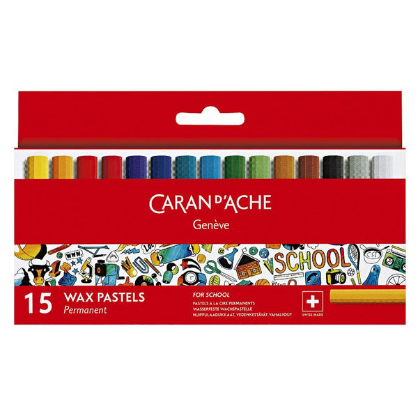 Caran d'Ache School Wax Pastels 15pcs Permanent