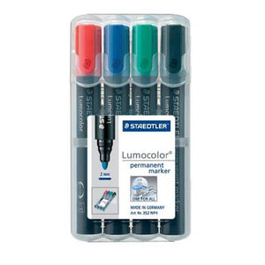 STAEDTLER Lumocolor Permanent Marker 2mm Bullet tip Pack of 4