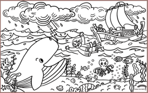 COLOUR ME MATS Jonah & the Big Fish (Colouring Mat Only)
