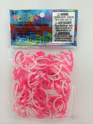 RAINBOW LOOM Silicone Elastic Bands - 2-Colors Pink White