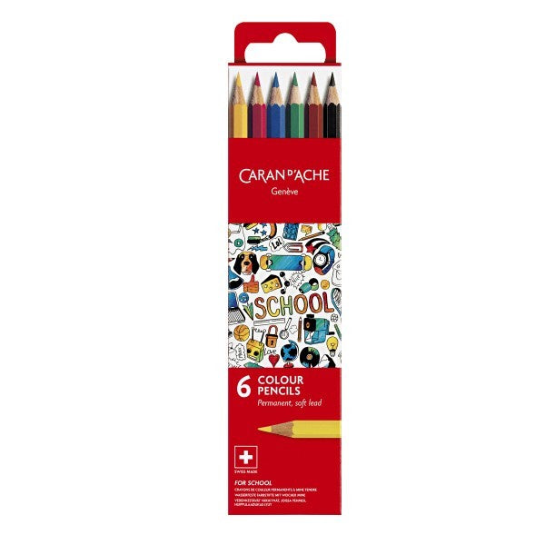 Caran d'Ache School Color Pencils 6pcs Set Permanent