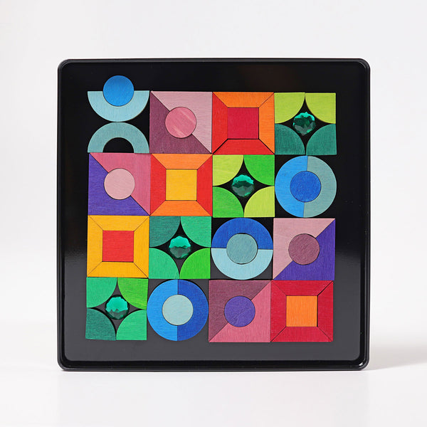 GRIMM'S Magnet Puzzle Triangle, Square Circle with Sparkling parts
