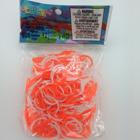 RAINBOW LOOM Silicone Elastic Bands - 2-Colors Orange White