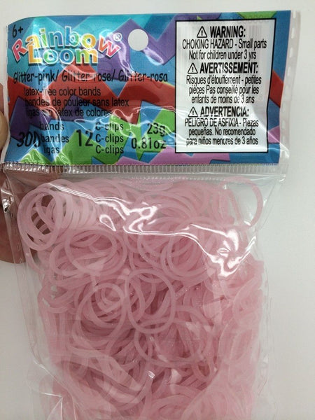 RAINBOW LOOM Silicone Elastic Bands - Glitter Pink
