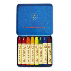 STOCKMAR stick crayons 8 assorted Waldorf mix - No Black (tin)
