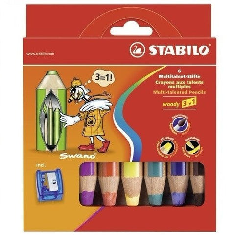 STABILO WOODY 3 IN 1 COL Pencil6pcs 8806