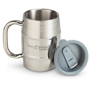 ECOVESSEL Double Barrel Mug 16 oz. (473 ml) Double Wall Beer/Coffee Mug with Lid