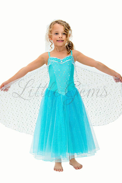 LITTLE GEMS Snow Princess Dress Aqua