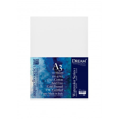 DREAM Watercolour Paper Medium Grain 300gsm A3 - 10's