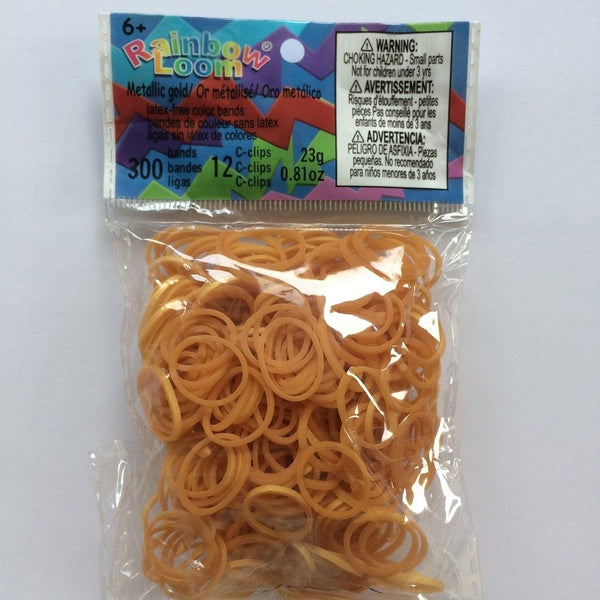 RAINBOW LOOM Silicone Elastic Bands - Metallic Gold
