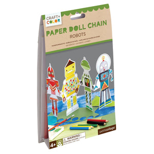 PETIT COLLAGE Robots Paper Doll Chain Craft & Color