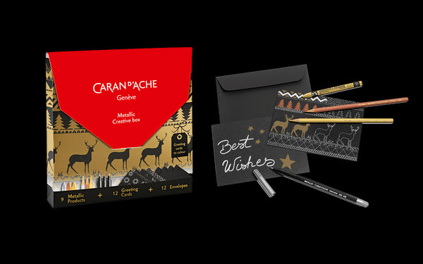 Caran d'Ache Metallic Creative Box (3 Neocolor I + 3 fibre-tipped pens + 3 colour pencils + 12 cards to colour + 12 envelopes)