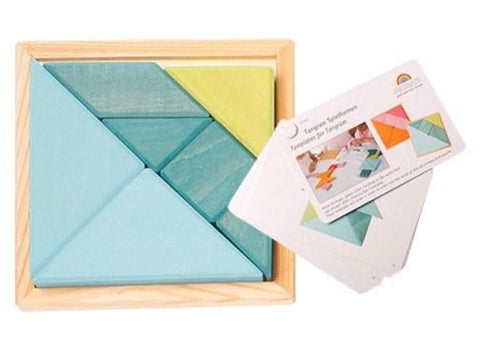 GRIMM'S Creative Set Tangram incl templates,Blue-green