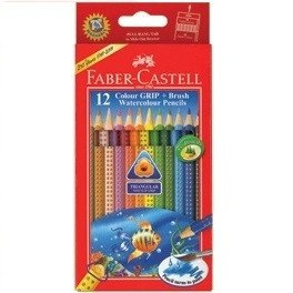 FABER-CASTELL Colour Grip + Brush Watercolour Pencils 12 Long