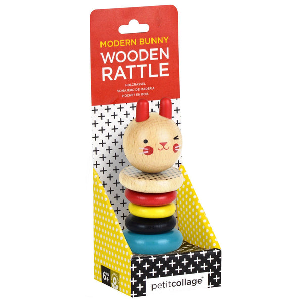 PETIT COLLAGE Modern Bunny Wood Rattle Toy