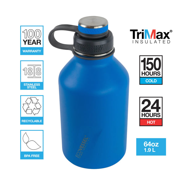 ECOVESSEL Boss 2019 - 64oz (1900ml) TriMax® Triple Insulated Growler with Reflecta™ Lid and Infuser
