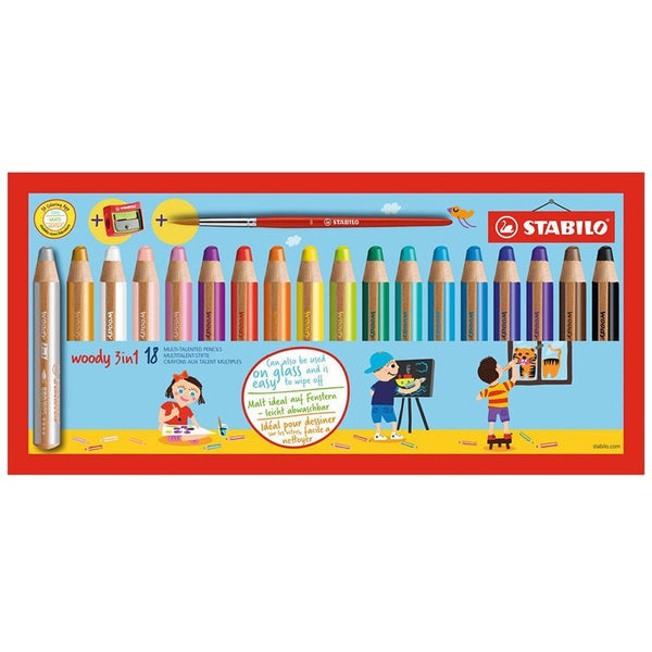 STABILO WOODY 3 IN 1 COL Pencil18pcs w/sharpener