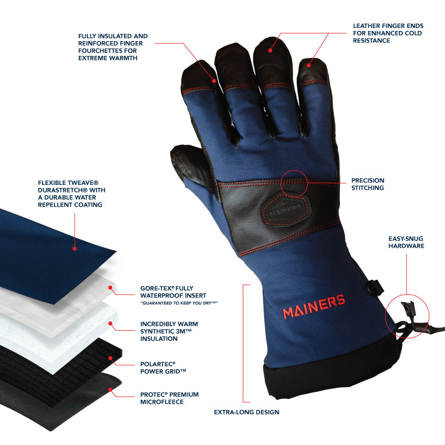 Mainers, winter gloves, warm gloves, extreme cold gloves, gloves made in USA, US-made gloves