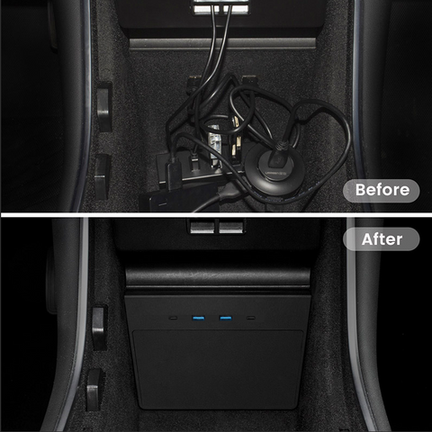 Talsem USB HUB Model Y and Model 3 Post June 2020 - Before After Comparaison