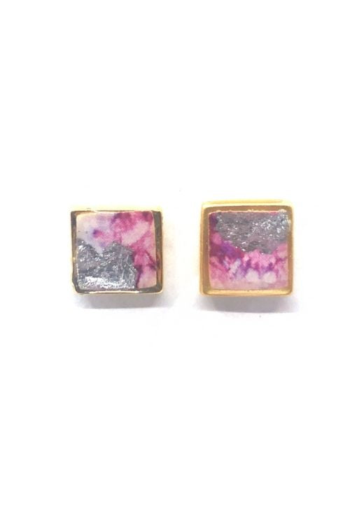 Agathe Earrings - Pink Marble Plated