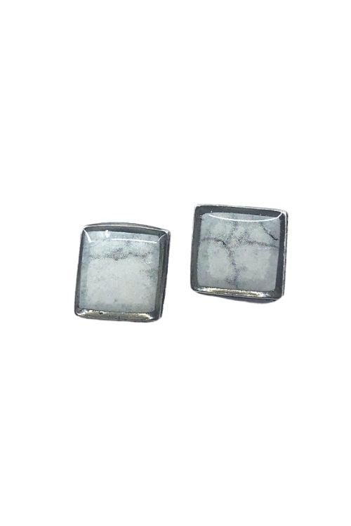 Agathe Earrings - White Marble Pewter