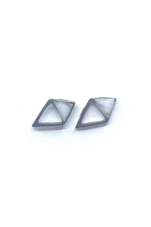 Gabriella Earrings - White Marble Pewter