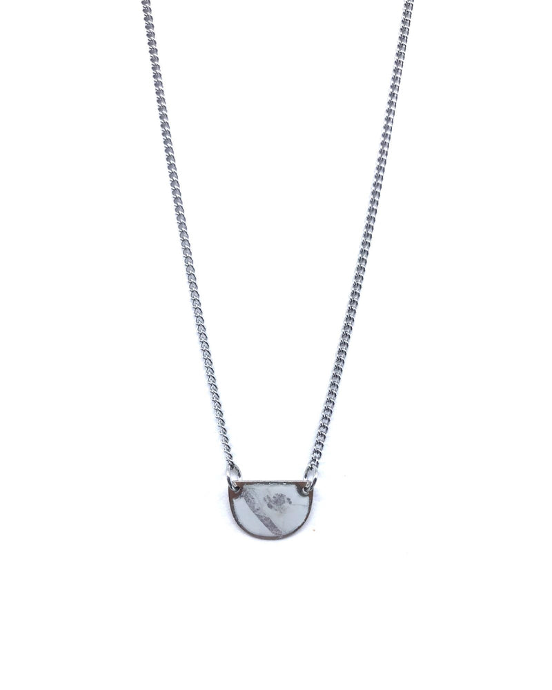 Beatrice Necklace - White Marble Pewter