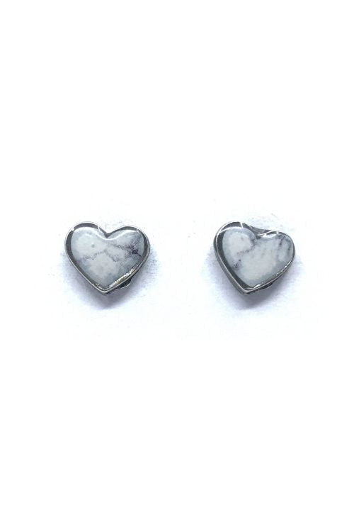 Amy Earrings - White Marble Pewter