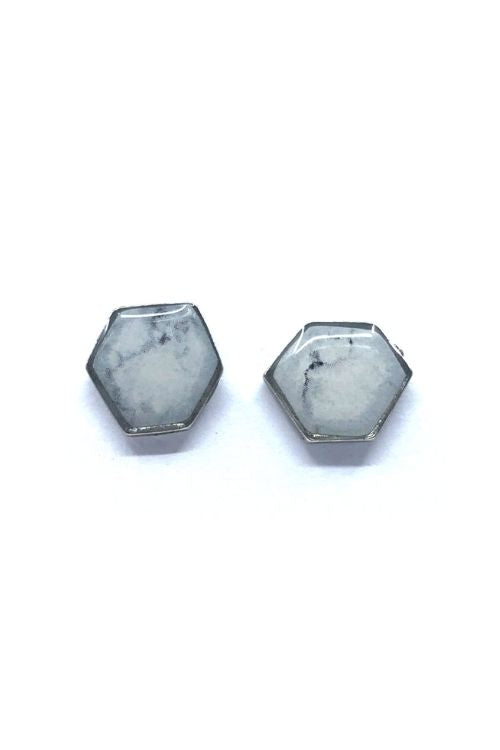 Camila Earrings - White Marble Pewter