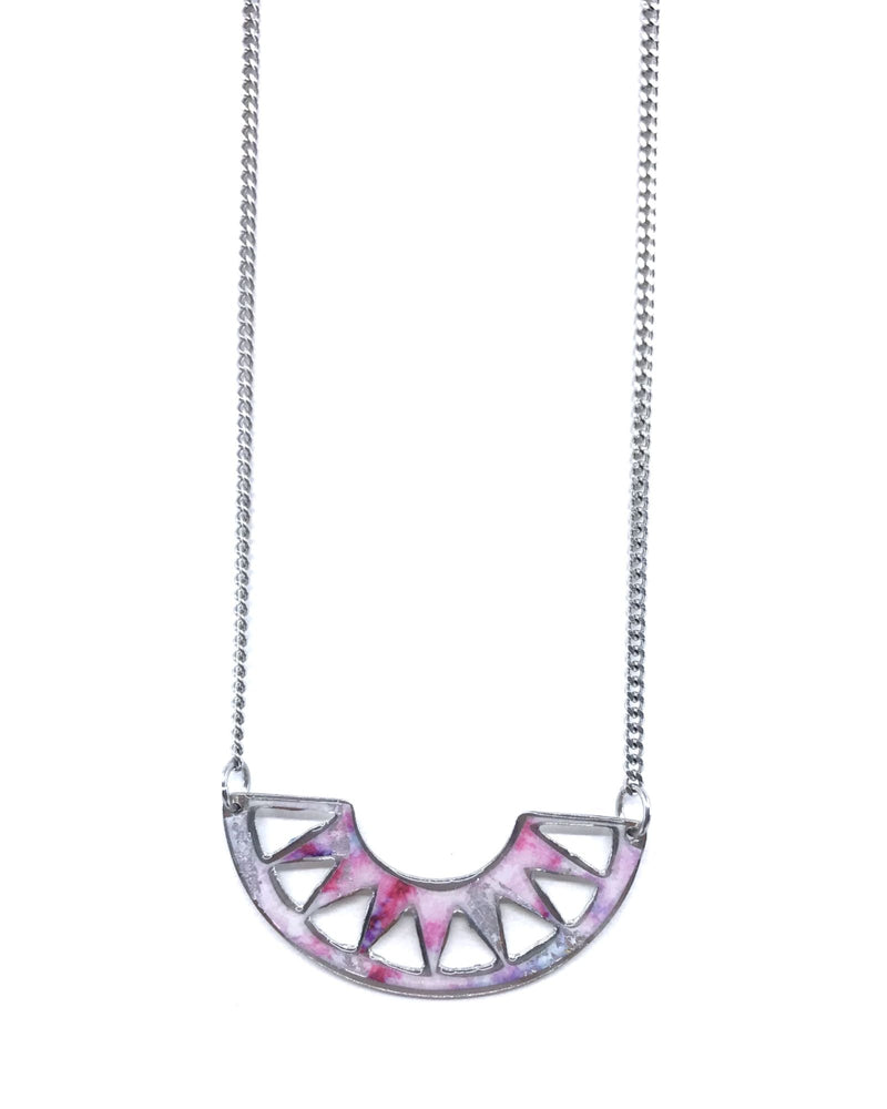 Cora Necklace - Pewter Shades of pink