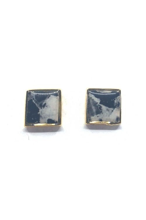 Agathe Earrings - Black Marble Plated