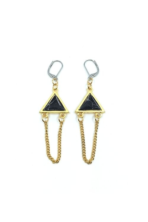 Elza Earrings - Black Marble Plated