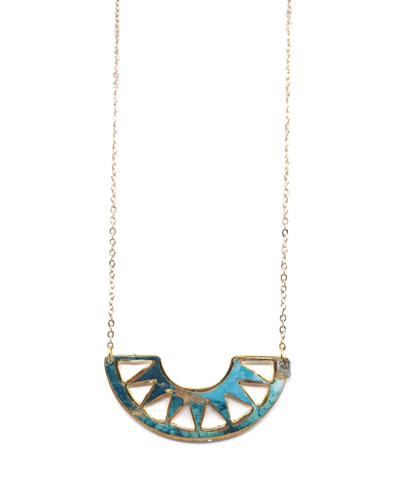 Cora Necklace - Gold Plated, Turquoise and Gold