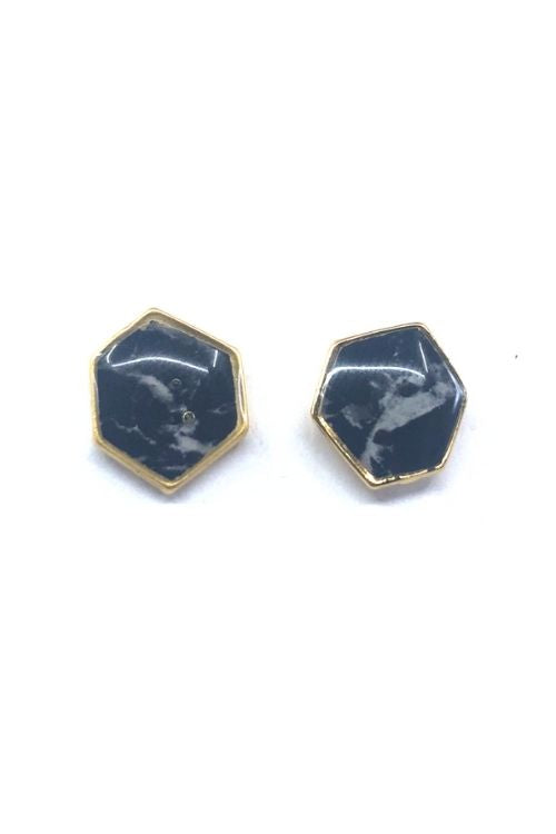 Camila Earrings - Black Marble Plated