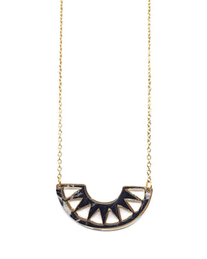 Cora Necklace - Gold Plated, Black Marble