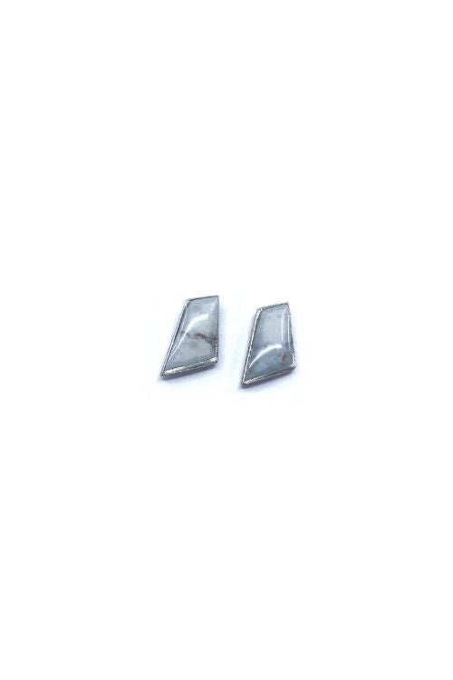 Lydia Earrings - White Marble Pewter