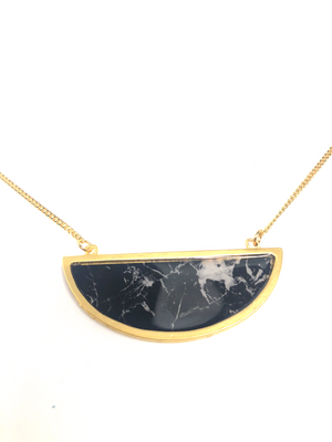 Bella Necklace - Gold Plated Black Marble