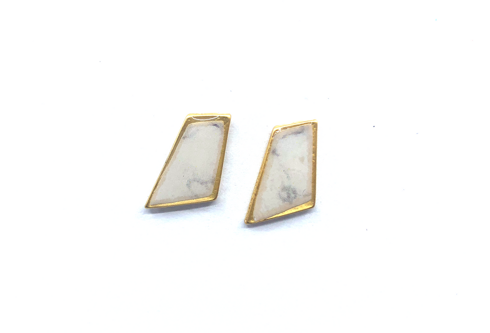 Lydia Earrings - White Marble Plated