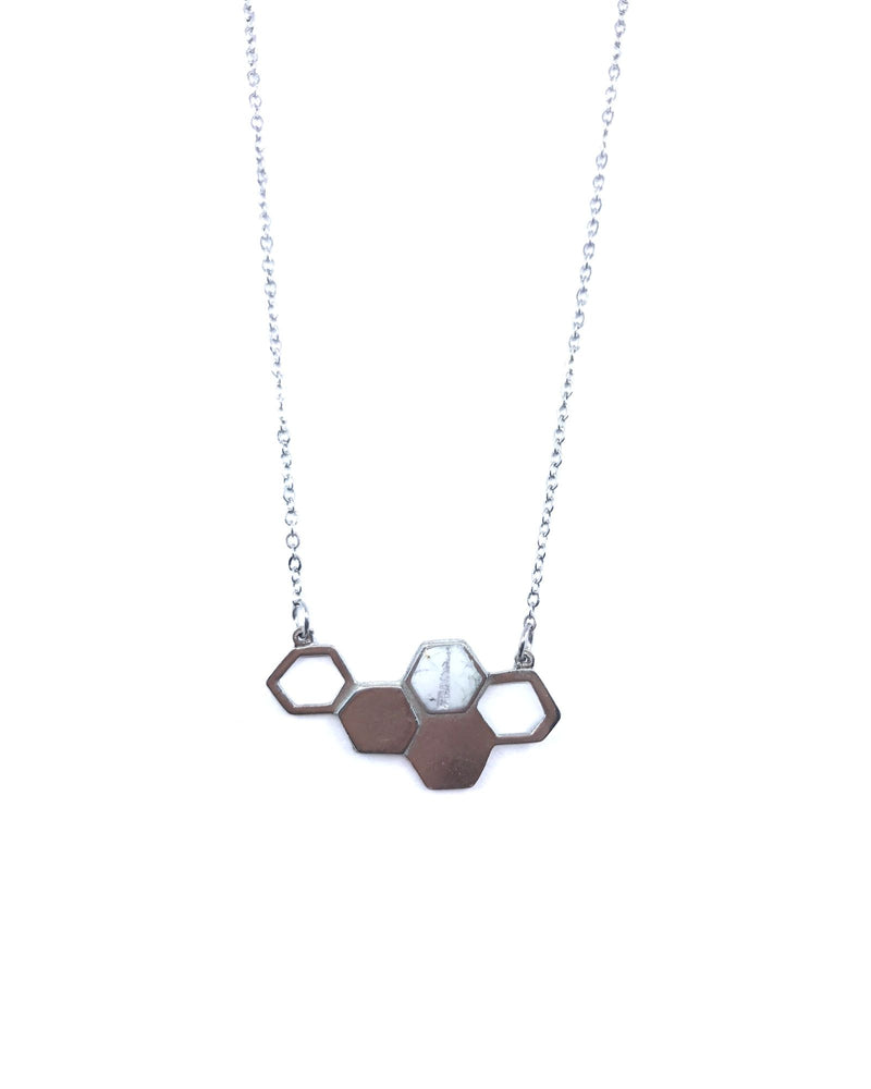 Deborah Necklace - Pewter, White marble