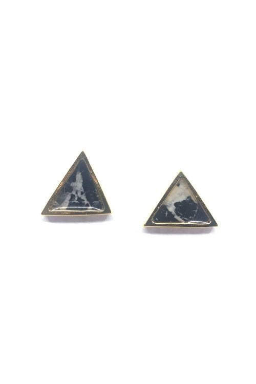 Upload image to gallery, Ariel Earrings - Black Marble Plated