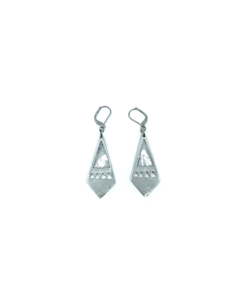 Maïka Earrings - White Marble Pewter
