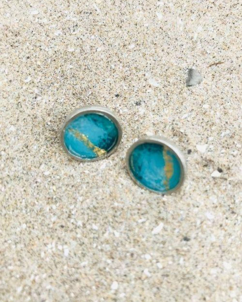 Stella Earrings - Turquoise Pewter