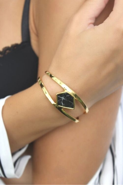 Upload image to gallery, Bracelet Betsy-OR-Black marble