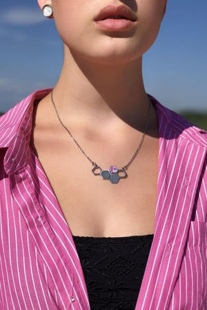 Upload image to gallery, Deborah Necklace - Pewter, Shades of pink