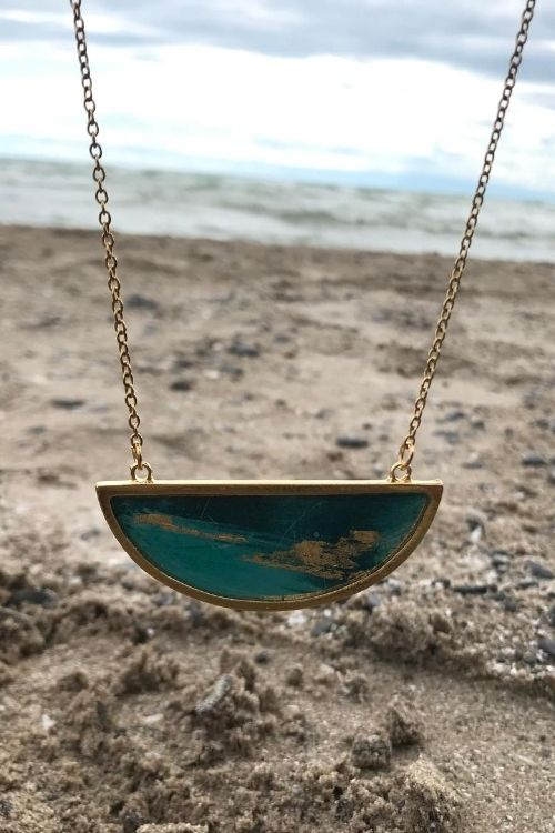 Bella Necklace - Gold Plated, Turquoise and Gold